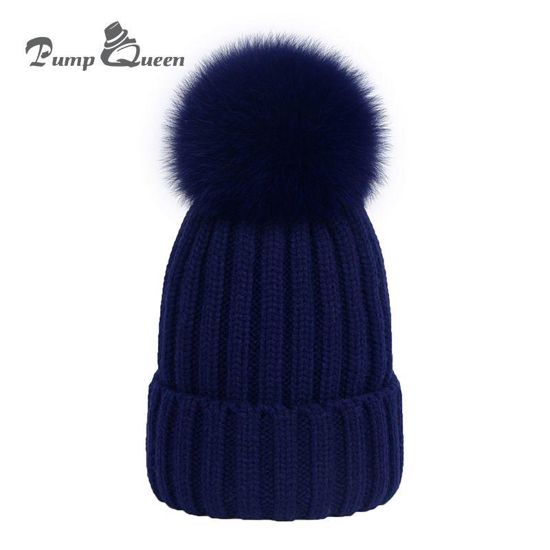 e6c13f019 Pump Queen New Real Fox Fur Pom Poms Ball Winter Hats Warm Thick Women  Beanies Kids Sports Knit Cap Female Wool With Ball Bonnet