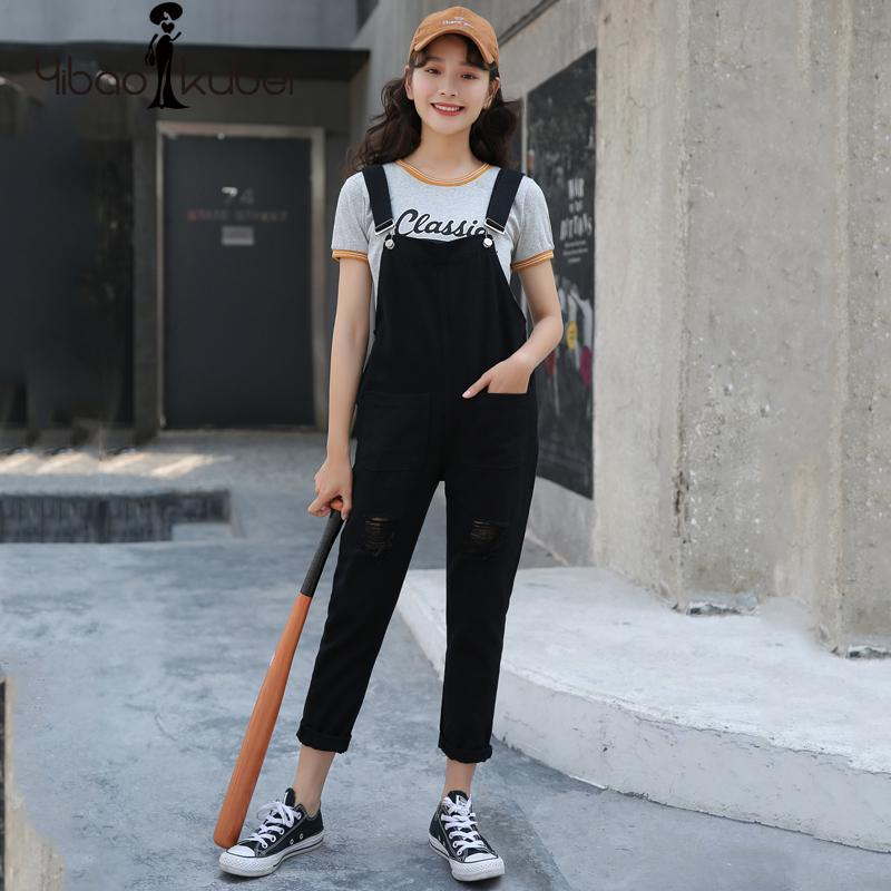 41e1247e3a44 2019 2018 Ladies Denim Overalls Black High Waist Wide Leg Loose Ripped  Jeans Jumpsuit Harem Jean Long Pants Korean Fashion Casual New From  Cactuse