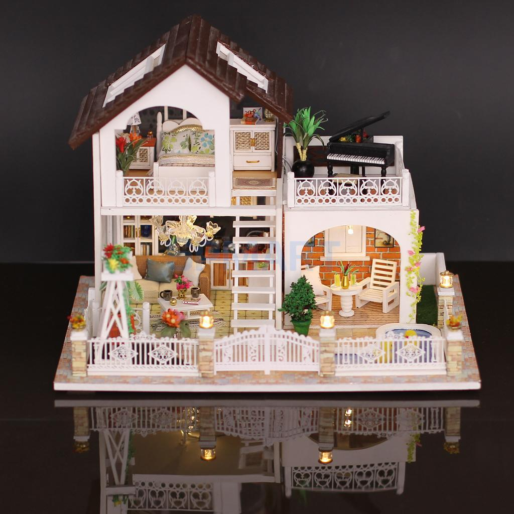 handmade 3d diy house model kit miniature led light & cover & music box  wooden dolls house model collectibles holiday villa
