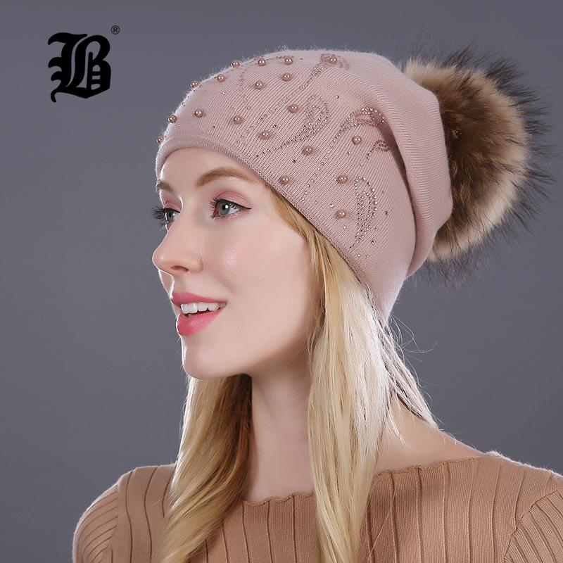 FLB Keep Warm Winter Hat Beanies Fur Wool Pearl Knitted Hat The Female Of  The Mink Caps Beanies Hats For Women Girl  S Cap S1020 Knitted Hat Cap Hat  From ... d98110e5f66