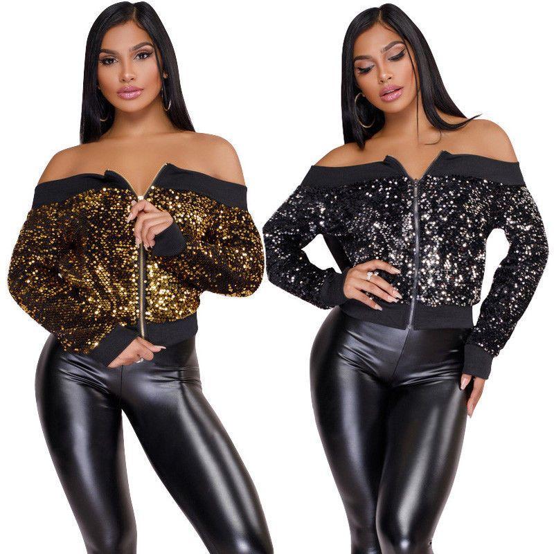 94c1a63c115b Women Coats Ladies Long Sleeve Off Shoulder Coat Jacket Long Sleeve Sequined  Jumper Zipper Fashion Style Women Clothes Autumn Waterproof Jackets Womens  ...