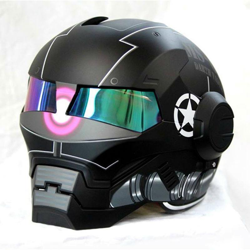 2016 New Matte Bright Black Masei Motorcycle Helmet Ironman Iron Man Helmet Half Open Face Casque Motocross 610
