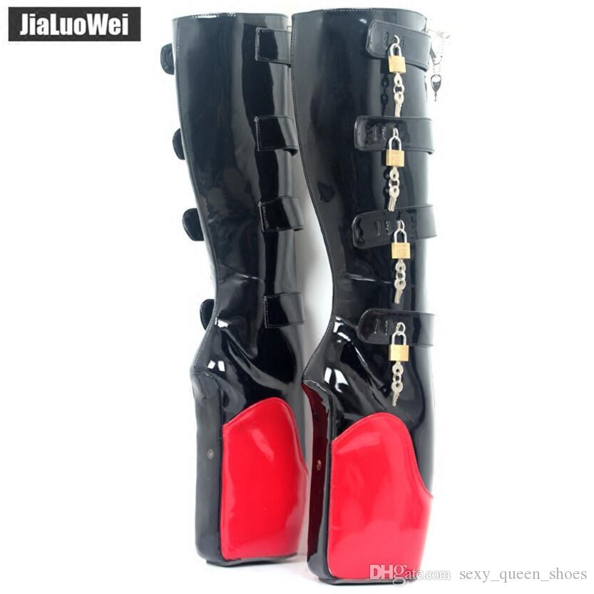 2018 Mixed-color 18cm Women Ballet Boots Super High Heeled Wedge Hoof Heelless Fashion Sexy 8keys Lockable Knee Boots Man Fetish SM Shoes