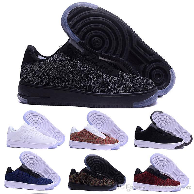 00d2cd661ac3e Acheter Nike Air Force 1 Flyknit Af12018 Casual Chaussures Nouveau Style  Mouche Ligne Hommes Femmes Force Haute Faible Amant Skateboard Chaussures 1  Un ...
