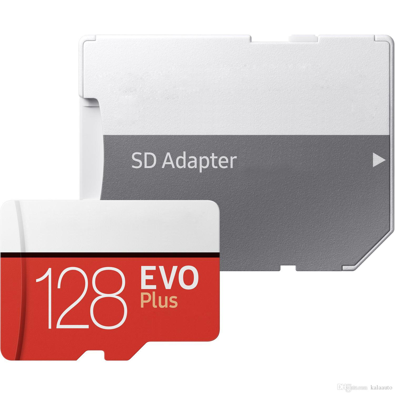 블랙 에보 플러스 + 32GB 64GB 128GB 256GB C10 TF 플래시 메모리 카드 클래스 10 무료 SD 어댑터 소매 블리스 터 패키지 Epacket DHL 무료 배송