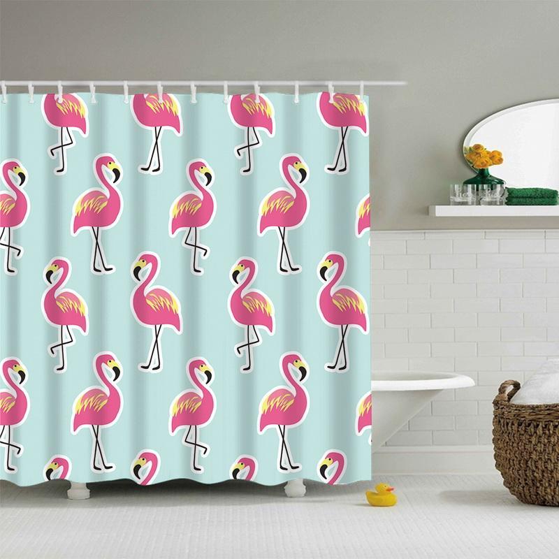 Ivyshion 1pc Hot Flamingo Animal Print Shower