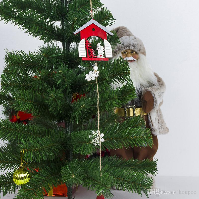 Bulk Lots 3 Styles Wooden Mini House Pendant Xmas Tree Decor Christmas Ornament Wedding Party Decoration Home Decor Festival Favor Grafts