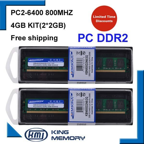 2 4 KEMBONA free shipping LONG-DIMM DESKTOP 2 4 kit(2*DDR2 2GB) 800MHZ PC6400 8bits work for all intel and A-M-D motherboard