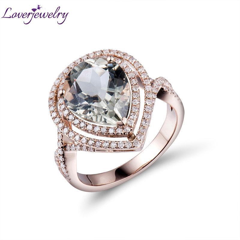 c1eede3a861 Acquista Anello In Oro Rosa 14Kt Con Diamante Verde Ametista