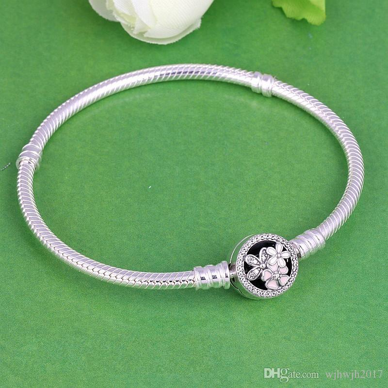 Poetic Blooms Bracelets with Mixed Enamels Authentic 925 Sterling Silver Jewelry Clear Crystal Pave Charm Bracelets For Women DIY Beads