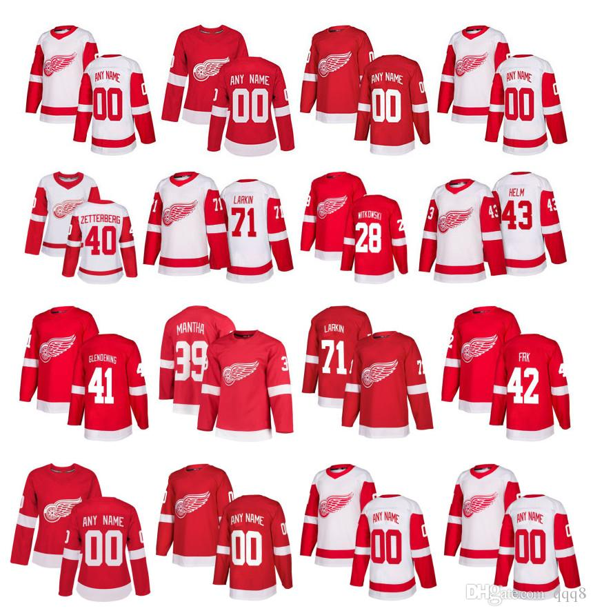official photos c1ab3 05c7a Customized Detroit Red Wings Jersey Anthony Mantha Dylan Larkin Henrik  Zetterberg Tomas Tatar Abdelkader Witkowski Helm Stitched Hockey