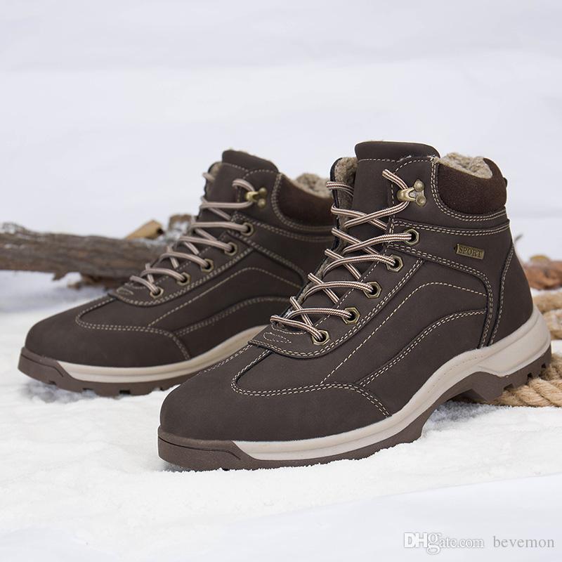 Mode d'hiver pour hommes Bottes de neige garder au chaud en peluche Bottines Chaussures de travail Sneakers Casual Outdoor HENvDGy