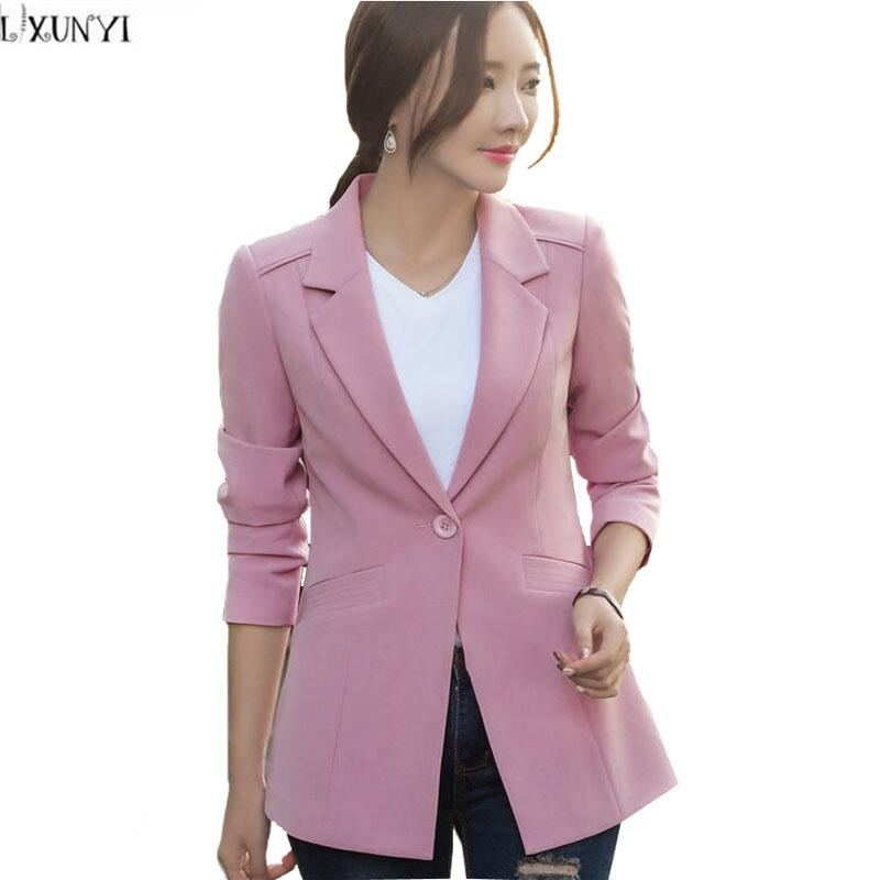 7c928feb2351 2019 LXUNYI Long Sleeve Blazer Female Plus Size 2017Autumn New Korean One  Button Slim Office Women Blazers And Jackets Casual Coat From Lookpack