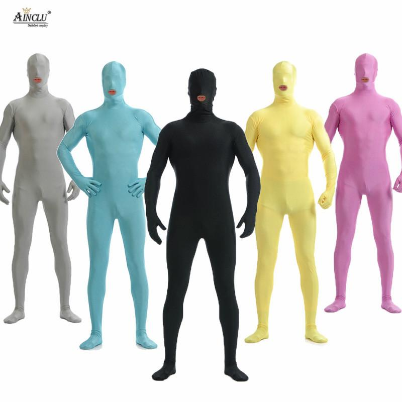 aff54c65dd7 Ainclu Men Spandex Nylon Lycra Black Full Body Second Skin Tight ...
