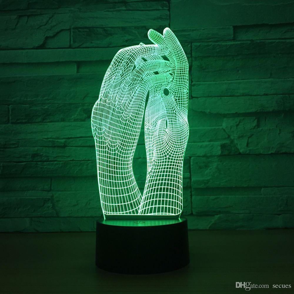 Mains 3D Optique Illusion Lampe Veilleuse DC 5V USB Alimenté 5ème Batterie En Gros Dropshipping Shippin Gratuit