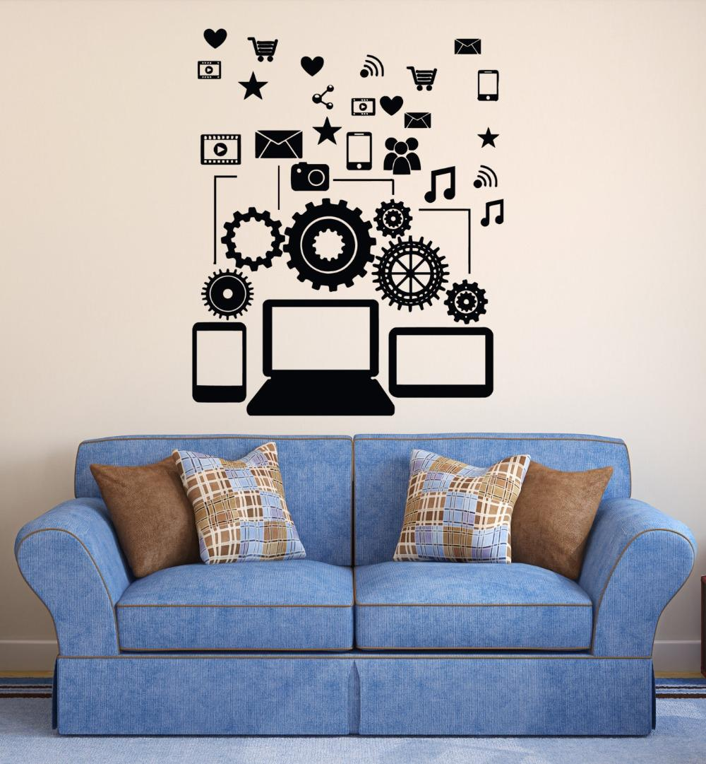 removable vinyl wall decal social network communication gadgets wall