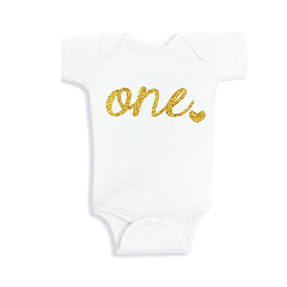 71f91faefee 2019 Baby Girls First Birthday Unisex New Born Baby Clothes One Year Shirt  Outfit F Sparkly Gold One Or 0 12 Month From Sophine14