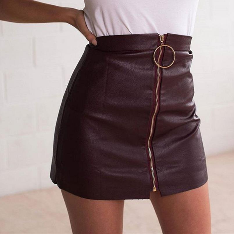 27a4f23e27 Compre Faldas De Cuero Sexy Para Mujer Corto Negro Cintura Alta O Anillo  Diseño Falda Con Lápiz A  29.24 Del Modeng02