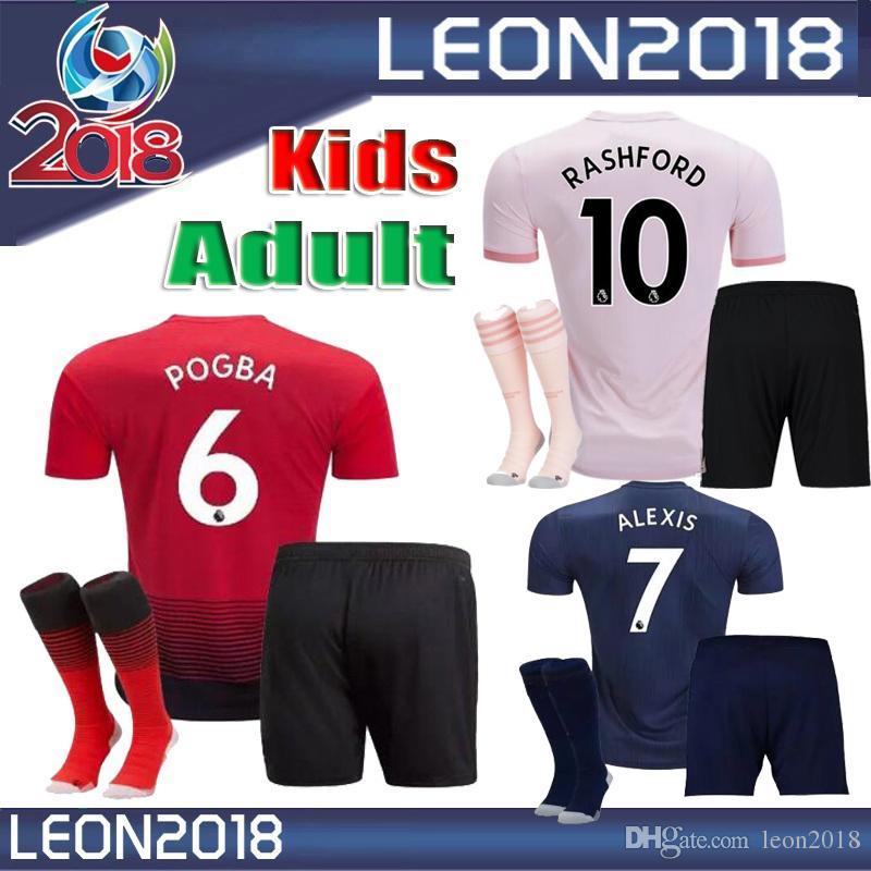 338e82512 Adult Kids 18 19 ManchestER POGBA Jersey 2018 2019 LUKAKU RASHAFORD ...