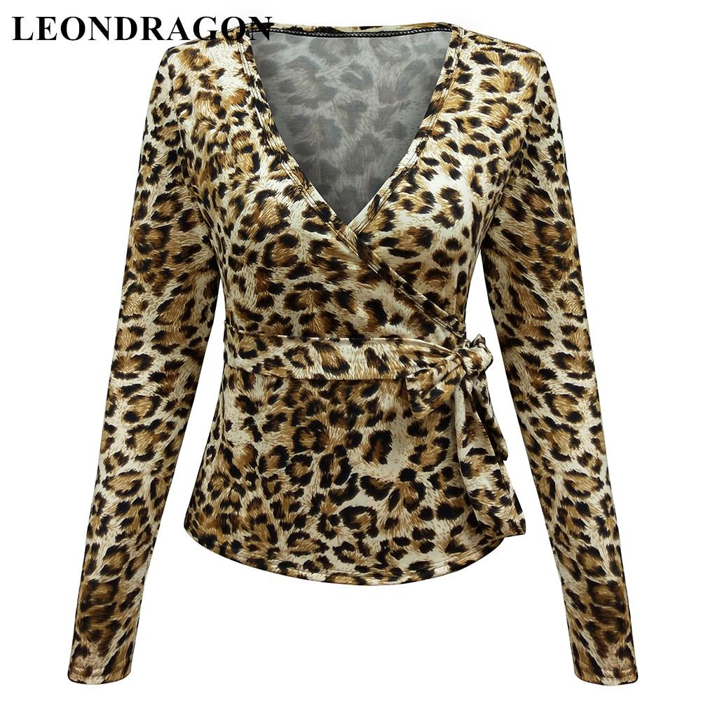Full Sleeve Sexy V Neck Autumn Winter Leopard T Shirts Ladies Tee Tops Club Party Bow Tie Tshirt Belt Pullover Women Clothing