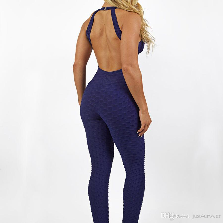Women Fashion Jumpsuits Yoga Pants One Piece Pant Bright Color Candy Color Solid Summer Fitness Athletic Trouser Rompers