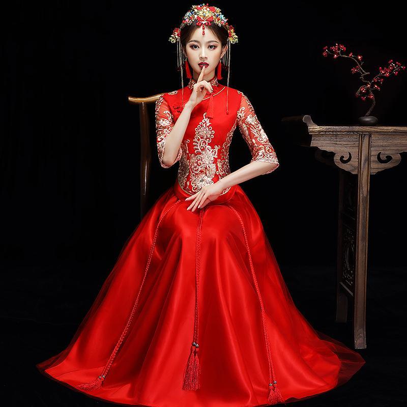 ddc7dffb992c Acquista Rosso Cinese Sposa Sposa Cheongsam Stile Tradizionale Sposare Abito  Da Sera Ricamo Lungo Qipao Abbigliamento Donna Taglia S XXL A  97.06 Dal ...