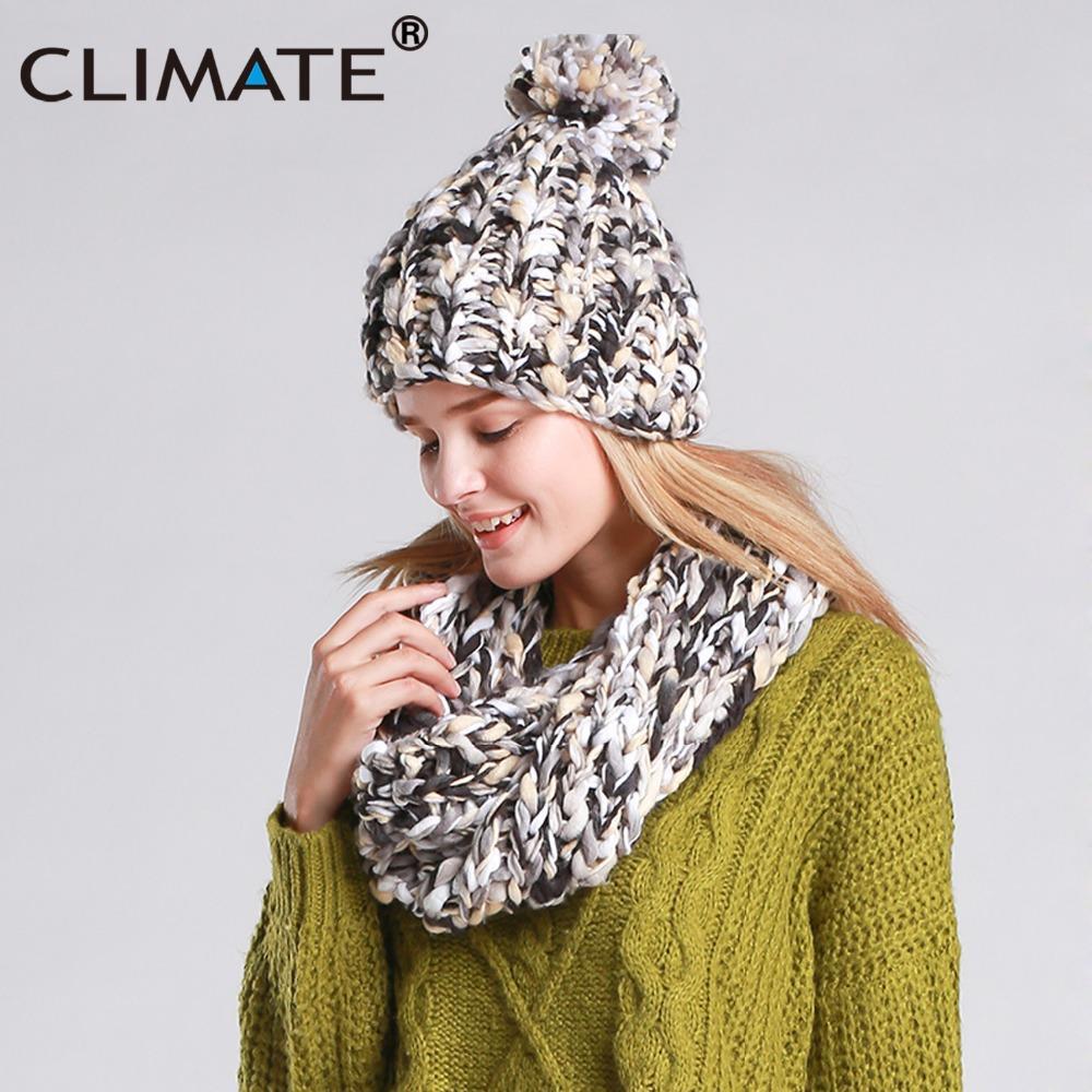 e725ca45060 CLIMATE Women Winter Hat And Scarf Set Warm Girls Lady Knit Pompom Beanie  Sacrf Sets Women Bonnet Collar Pom Hat Scarf Sets Scarf Hat Set Scarf Set  Hat Set ...