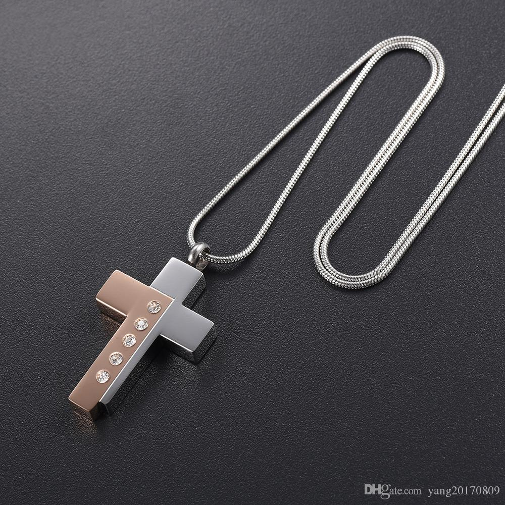 DJX9898 Two Tone Stainless Steel Cross Urn Ashes Necklace Cremation Jewelry Keepsake Memorial Locket Pendant for Men and Women