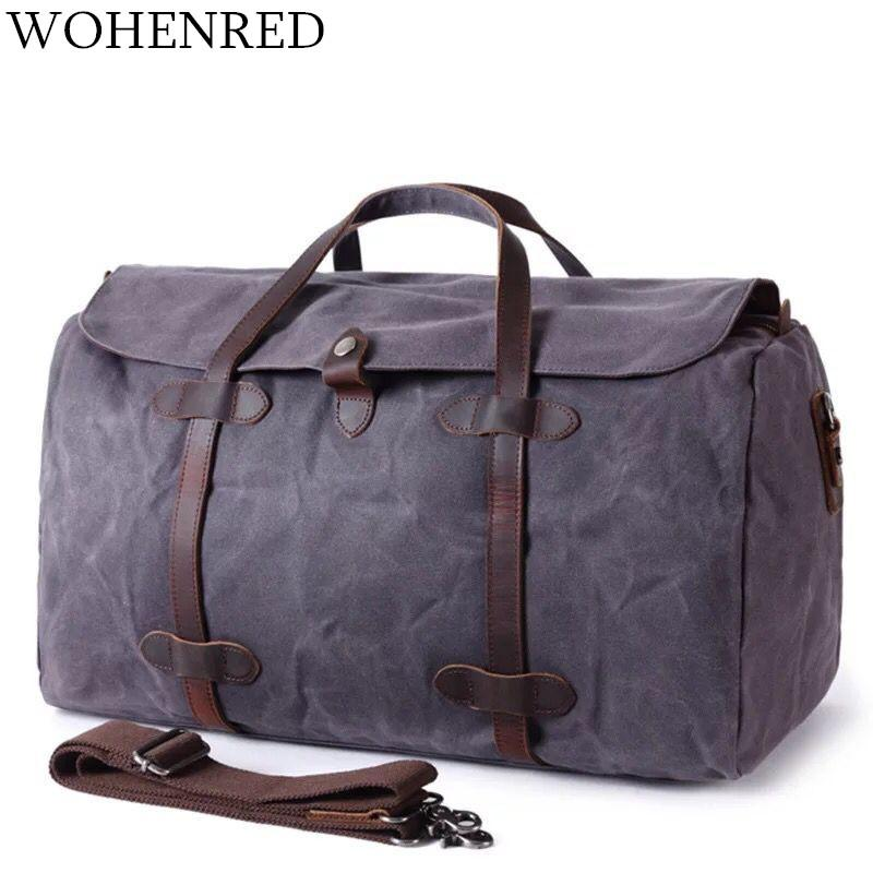 6e3a38346 Waterproof Travel Bags Canvas Men Duffle Bags Large Capacity ...