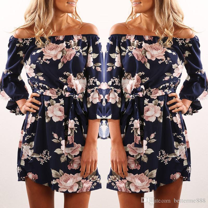 83e9e356ef92 Women Dress 2018 Summer Sexy Off Shoulder Floral Print Chiffon Dress Boho  Style Short Party Beach Dresses Vestidos De Fiesta Plus Size Evening Dresses  Plus ...