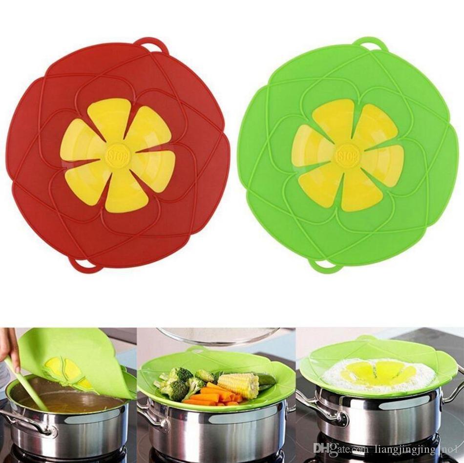 Pièces de batterie de cuisine de fleurs 26cm Silicone Bover Over Couvercle Capuchon Four Safe Pour Pot / Pan Couvercle Outils de cuisson OOA4074