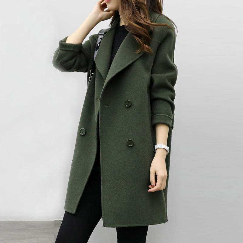 27741705a26d5 2018 New Womens Wool Blend Coat Turn Down Collar Slim Belt Double Breasted  Coats Autumn Winter Elegant Female Overcoat 6Q0475 Wool   Blends Cheap Wool  ...