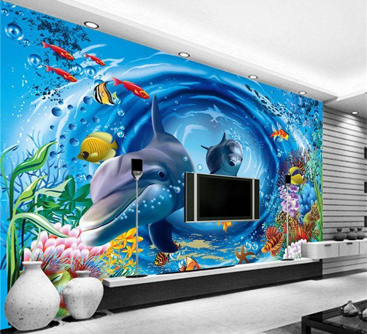 Cartoon Underwater World Custom photo wallpaper art wallpaper restaurant retro sofa backdrop 3d wallpaper 3d mural wall paper home decoratio