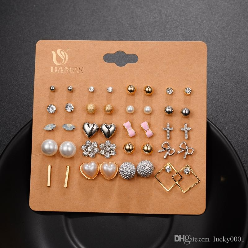 Punk Fashion Stud Earrings Set For Women Elegant Mixed Crystal Flower Bow metal Ball Earings Jewelry 5 Styles