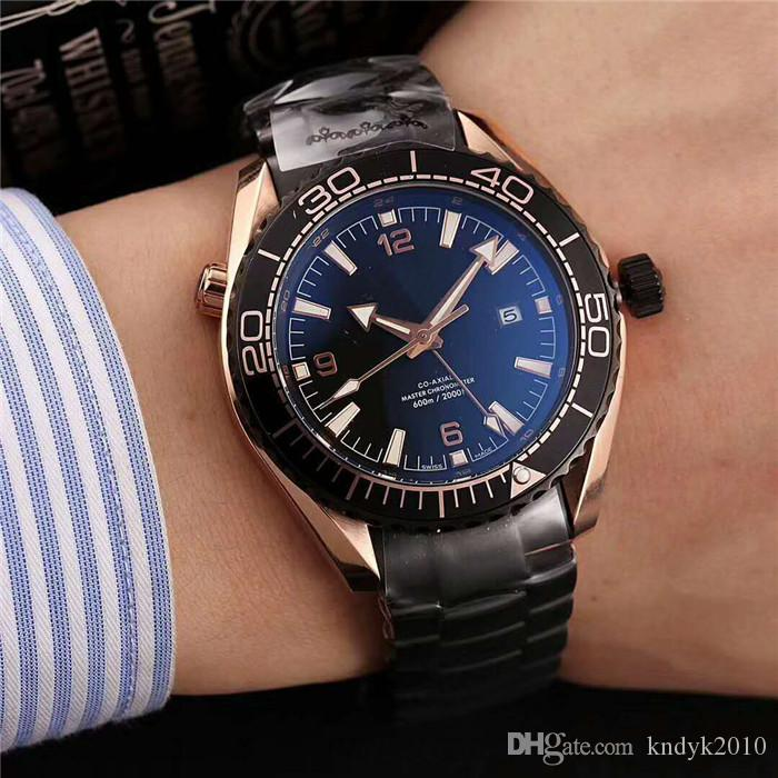 New Casual Automatic Core 316 Stainless Steel Case Coated blue glass mirrorsapphire glassDouble buckle Stainless Steel strap Men watch