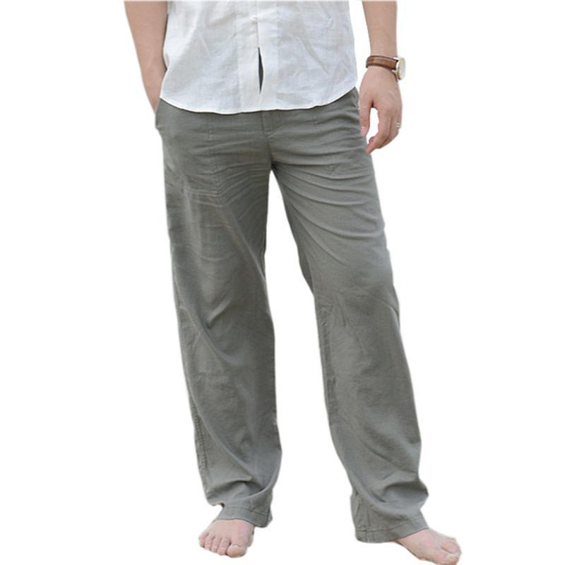 timeless design 78387 0ffdb Pantaloni di lino in cotone casual da uomo estivi Pantaloni larghi 3XL da  spiaggia di grandi dimensioni Pantaloni elastici in vita da kaki bianchi