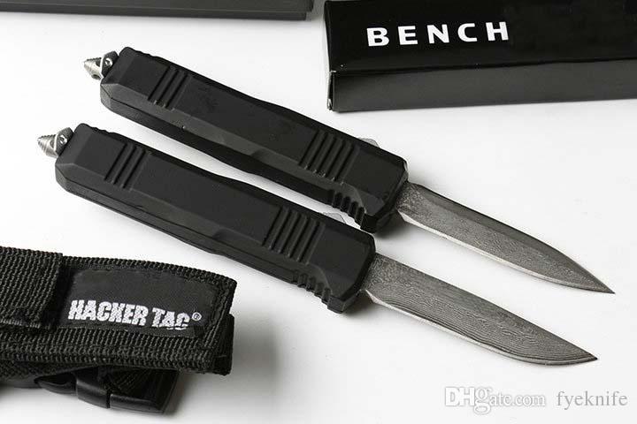 ベンチマD / A自動ナイフスモールC07ダマスカスブレードポケットナイフの戦術ギアサバイバルHKナイフクリスマスギフトナイロンシースと男性のナイフ
