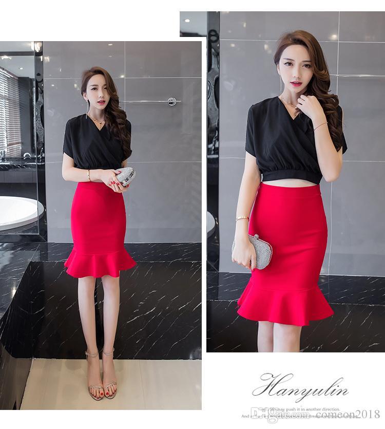 edb7e8369 Las señoras de la moda de trabajo Formal Elegante Wrap faldas elástico del  vestido del lápiz falda midi de impresión del paquete delgado Hip Lady ...