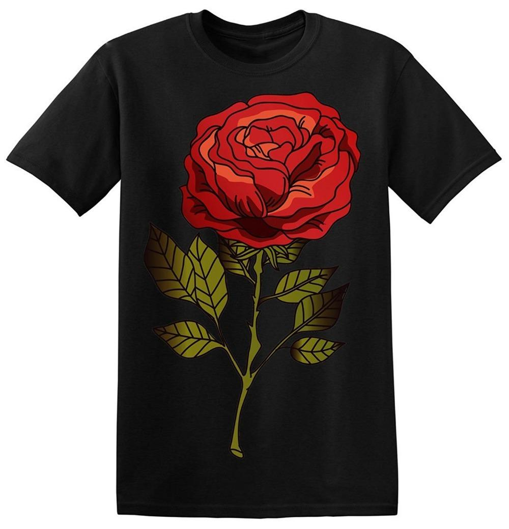 036cf18cf 2018 New Summer Men Hot Sale Fashion Beautiful Animated Rose With Shadows Men's  T-shirt Short Sleeve Discount 100 % Cotton