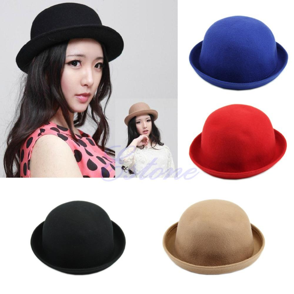 832e3418914 Vintage Fashion Wool Women s Cute Lady Hat Trendy Bowler Fedoras Hat ...