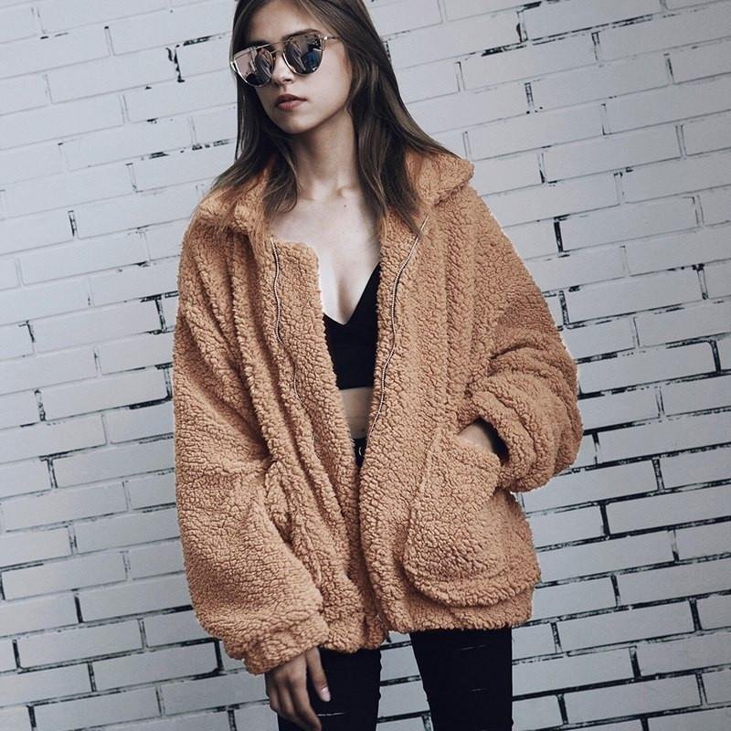4c511a143 Autumn Winter Faux Fur Coats Zipper Women 2018 Fleece Thick Warm Fur Teddy  Coat Ladies Cardigan Bomber Jacket Party Coat Outwear