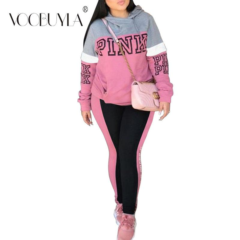 a2d9817d4f2 2019 Voobuyla Autumn Women Running Sets Letter Printed Sport Suits Long  Sleeve Sweat Pants Yoga Fitness Jogging Suit Plus Size S 3XL From Godefery