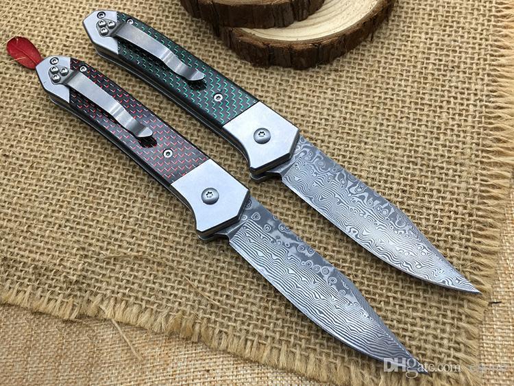 Super! Melhor G502 faca Dobrável aço Damasco fibra de carbono punho Camping EDC bolso Em Vez De Sog FIELDER G707 Facas facas