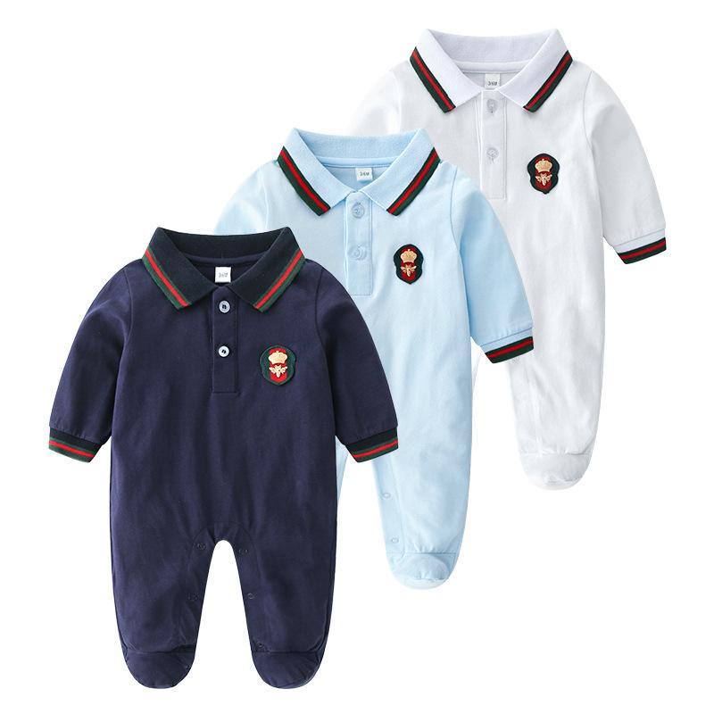 2018 Autumn Baby Boys Designer Rompers Stripes Lapel Kids Infant