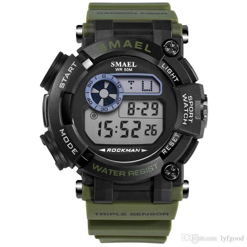 Compre SMAEL Relojes De Pulsera Digitales Marca De Lujo Relojes Militares  Reloj LED A Prueba De Agua Relogio Masculino 1638 Relojes Deportivos Para  Hombres ... e4b591e34113