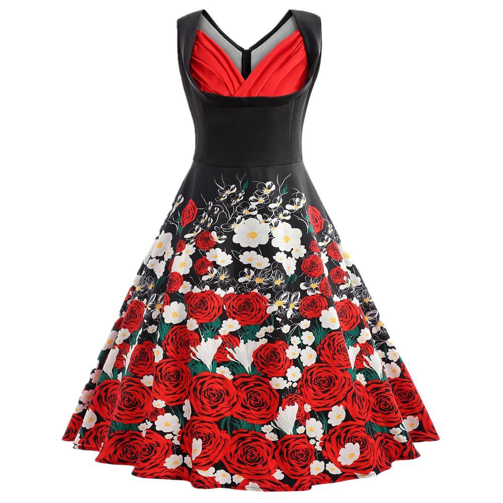 2018 Zaful Vintage Dress Plus Size Flare Rose Floral Print Valentine