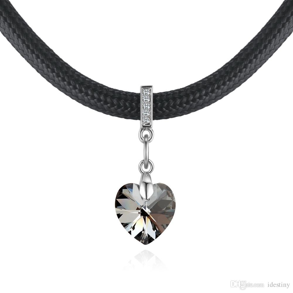 f78f87dda6f0f Heart Pendant Choker Necklace Crystals From Swarovski Rope Leather Chain  Collar For Women Party Retro Vintage Jewelry