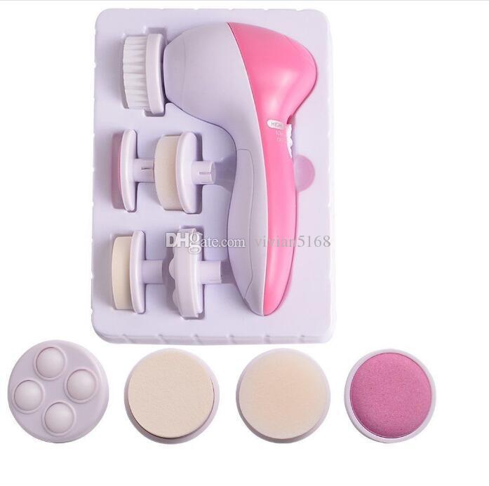 5 1 Elektrikli Yıkama Yüz Makinesi Yüz Gözenek Akne Temizleyici Vücut Temizleme Masaj Mini Cilt Güzellik Masaj Fırça kutusu ile hediye