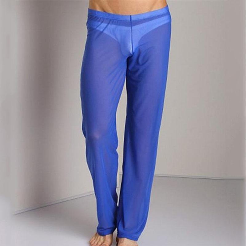 47a915e570 2018Sexy Mens Mesh Sheer See through Sheer Pants Men's Transparent Trousers  Male Loose Mesh Gauze Sleepwear Underpants Underwear