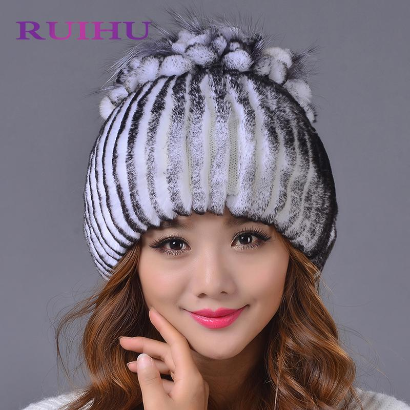 5b1ab62d Fur Hat For Women 100% Real Rex Rabbit Princess Cap With Luxury Fox Fur  Flower Tops 2018 New Thick Female Winter Knitted Hat Knit Beanie Cap Shop  From ...